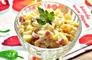 Салат с ветчиной, яйцами и кукурузой (пошаговый фото рецепт)