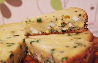 Заливной пирог с луком и яйцами в мультиварке (пошаговый фото рецепт)