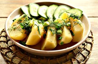 Отварной картофель в мясном бульоне с зеленью (пошаговый фото рецепт)