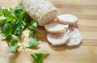 Куриный рулет с желатином в пленке (пошаговый фото рецепт)