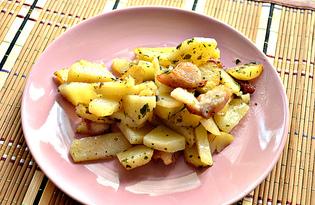Картофель на сковороде с салом (пошаговый фото рецепт)