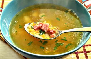 Гороховый суп с колбасой (пошаговый фото рецепт)
