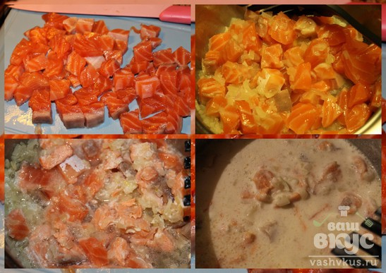 Красная рыба в сметанном соусе с отварным картофелем