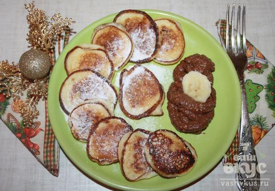 Оладьи с бананом, корицей и шоколадом
