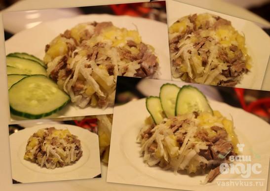 Теплый салат с редькой