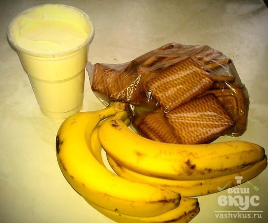 Банановый тортик из печенья
