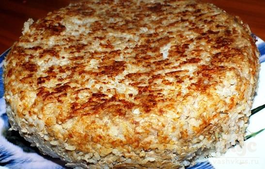 Запеканка из риса и фарша в мультиварке