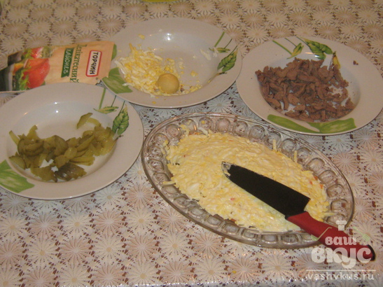 Салат с печёнкой