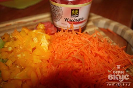 Телятина с имбирем в кисло-сладком соусе