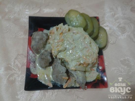 Нежная куриная печень с овощами