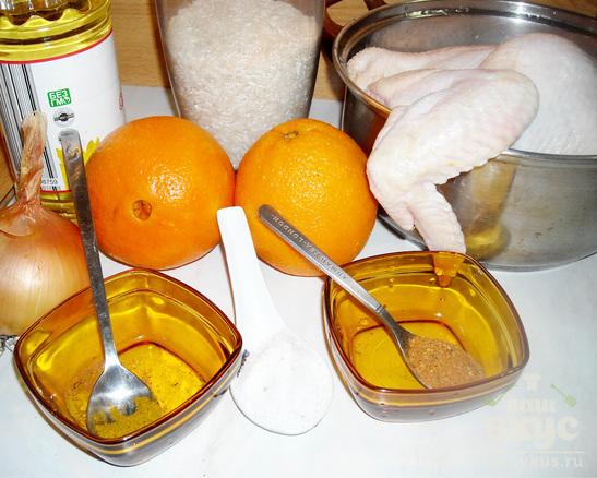 Томленая курица с апельсинами и рисом