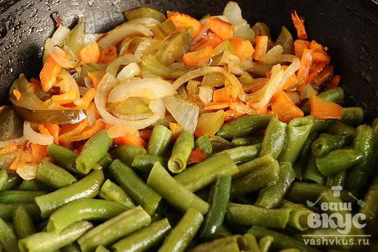 Стручковая фасоль с овощами и кашей
