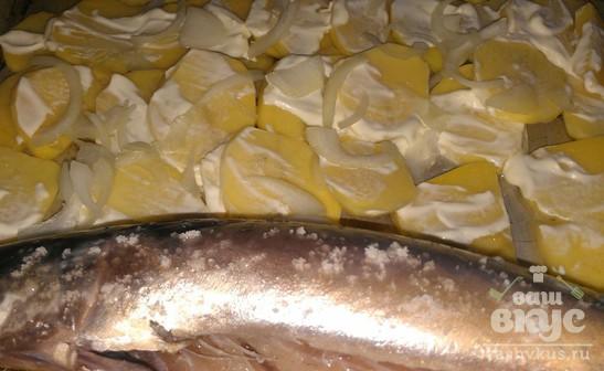Скумбрия запеченная с картофелем в майонезе