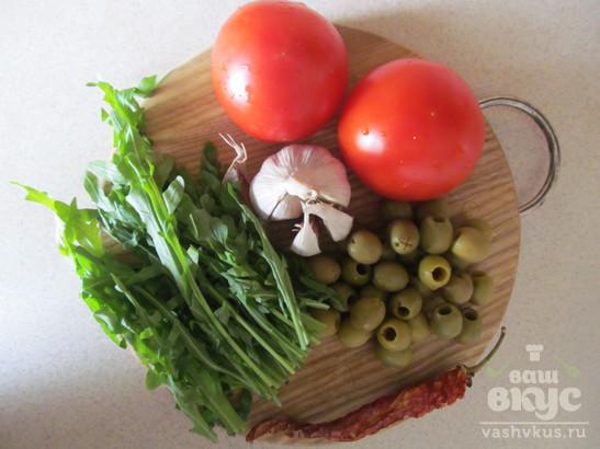 Паста с рукколой и оливками