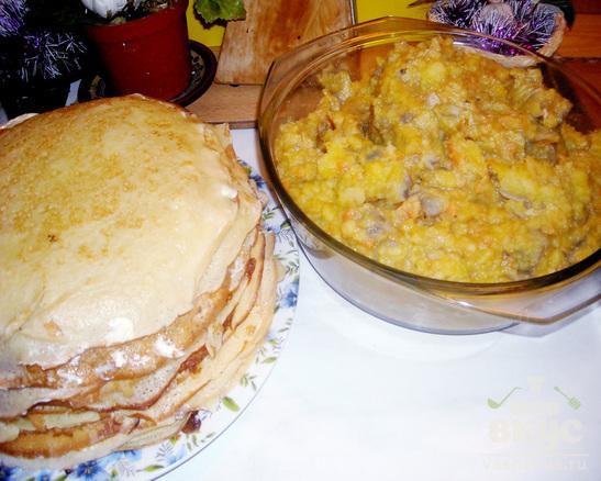 Налистники с картофелем и шампиньонами