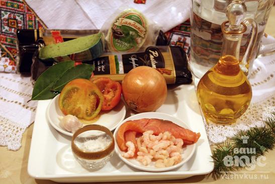 Паста с креветками и соленой форелью