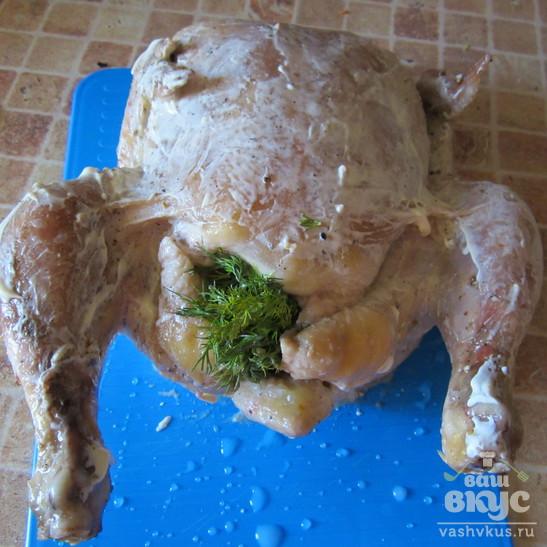Румяная курица с зеленью