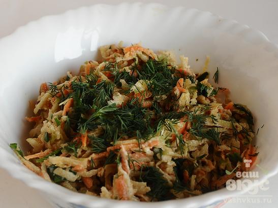 Салат весенний из зеленой редьки