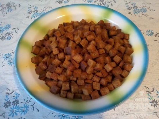 Домашние сухарики из черного хлеба