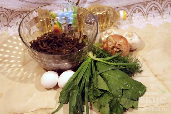 Салат из морской капусты с грибами