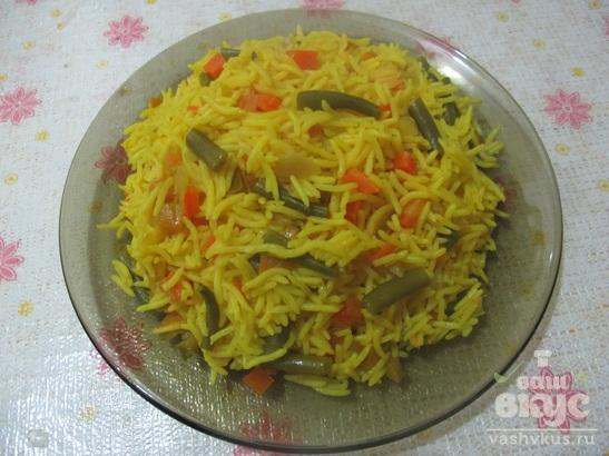 Рис с болгарским перцем и стручковой фасолью в мультиварке