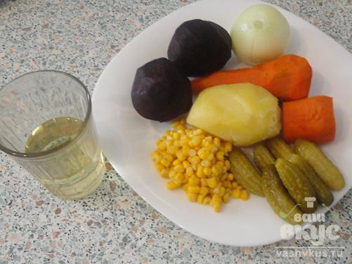 Винегрет с консервированной кукурузой