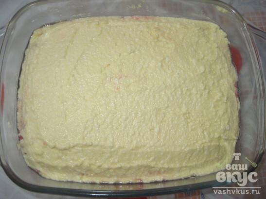 Творожный десерт, запеченный с киселем