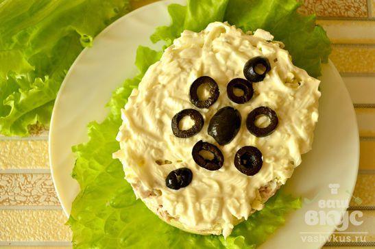 Салат с курицей и маслинами «Белоснежка»