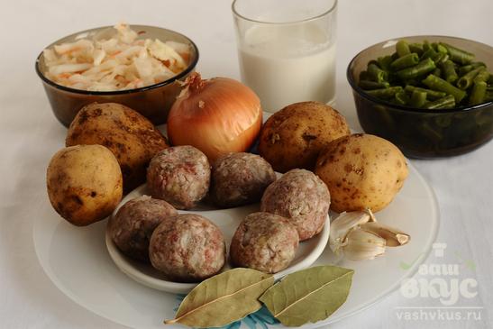 Щи с фрикадельками и зеленой фасолью