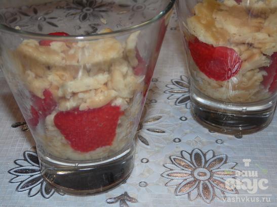Клубнично - творожный десерт