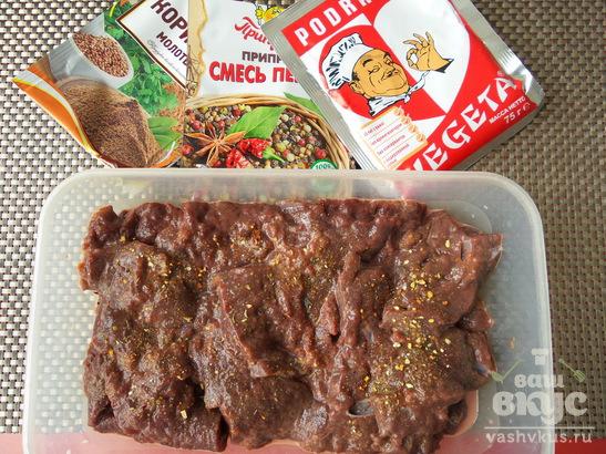 """Печень говяжья жареная с луком """"Праздничная"""""""