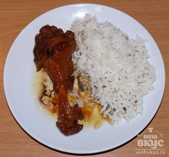 Кисло - сладкие утиные кусочки с рассыпчатым рисом