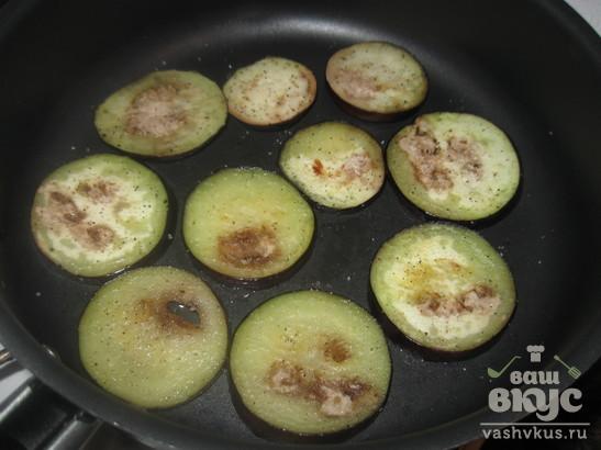 """Закуска из баклажанов и помидоров """"Башня"""""""