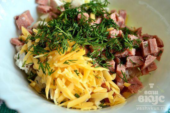 Мясной салат с сыром