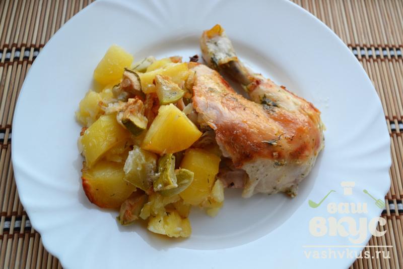 курица кабачки и картошка в духовке
