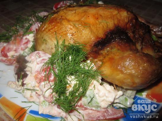 Цыпленок фаршированный грибами и томатами