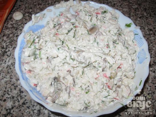 Кальмары фаршированные рисом и грибами