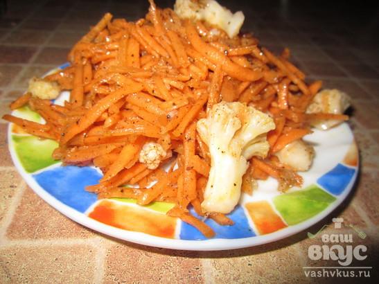 Корейский салат из моркови и цветной капусты