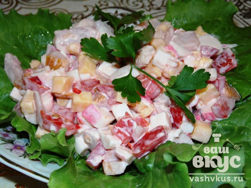 Рецепт салат помидоры сыр крабовые палочки