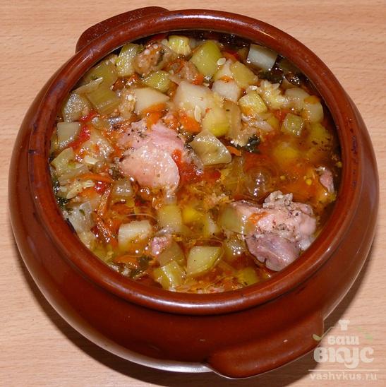 Рецепт курица в горшочках с овощами в духовке с фото