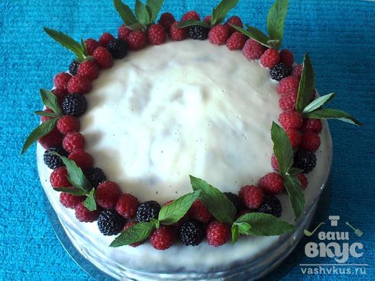 """Бисквитный торт со сметанным кремом """"Полосатое лакомство"""""""
