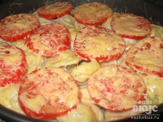 Пельмени с помидорами запеченные в духовке