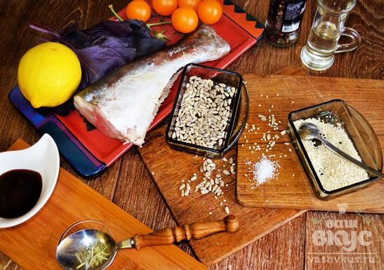 Рыба в кунжуте с черри