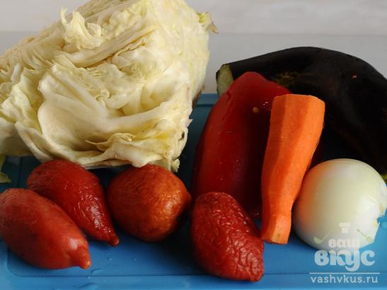 Овощное рагу с гусятиной