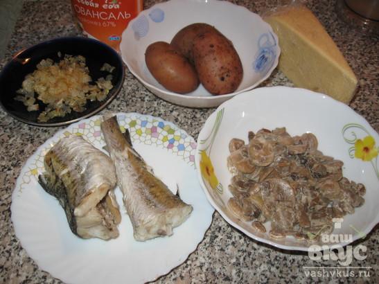 Салат из минтая и грибов