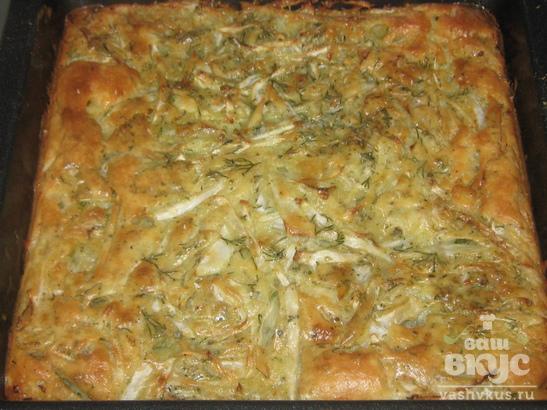 Заливной пирог с белокочанной капустой