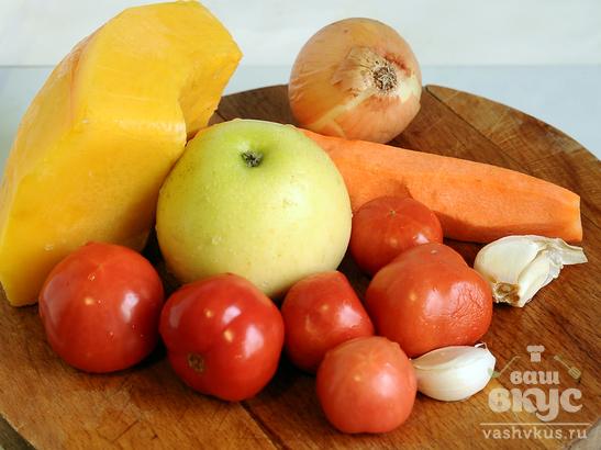Тыквенный суп с яблоком и рисом