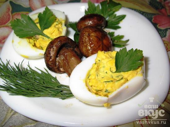 Фаршированные яйца с грибами