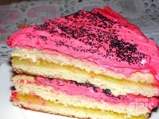 Бисквитный  торт с яблочным джемом