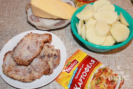 Запеченный картофель с отбивными
